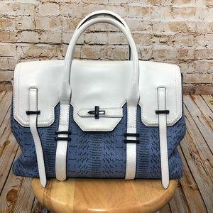 Rebecca Minkoff Blue Python Print satchel
